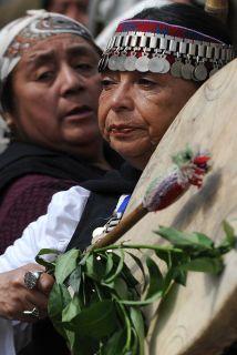 Protestas por mapuches en huelga