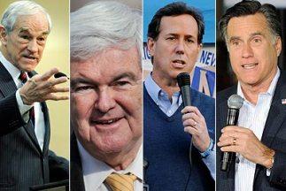 Los precandidatos presidenciales Ron Paul, Newt Gingrich, Rick Santorum...