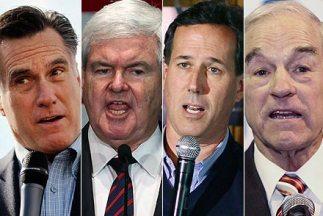 Los precandidatos Mitt Romney, Newt Gingrich, Rick Santorum y Ron Paul l...