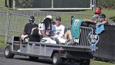 """El WR tuvo que salir del campamento en el """"carrito de las desgracias""""."""