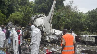 Restos del avión siniestrado en Sudán del Sur