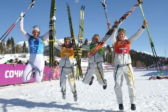 La prueba de relevos de 4x5 kilómetros de esquí de fondo,...