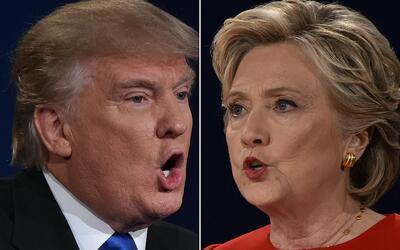 Los candidatos presidenciales Donald Trump, republicano, y Hillary Clint...