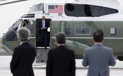 Obama llega a Hiroshima en helicóptero