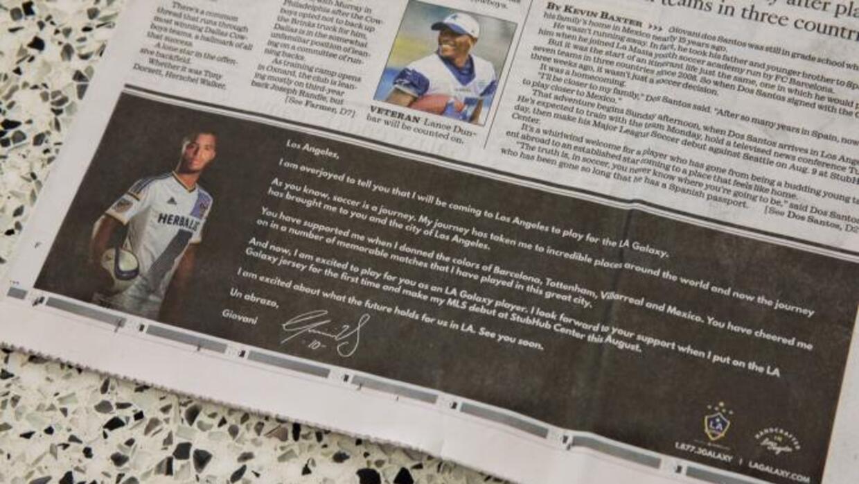 Giovani dos Santos le escribe una emotiva carta a los fans del LA Galaxy