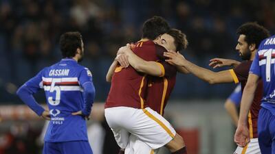 La Roma gana con apuros a Sampdoria