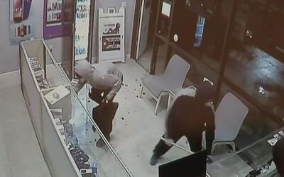Publican el video del momento en el que roban en una tienda de celulares...