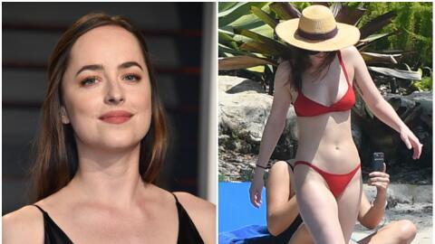 La protagonista de 'Fifty Shades of Grey' lució su figura en dos...