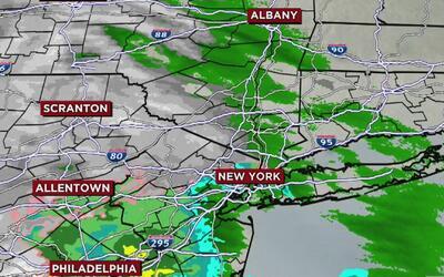 Mucha lluvia y nieve en algunas zonas de Nueva York para iniciar la semana