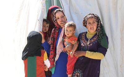 Refugiados sirios en un campamento de ACNUR levantado en territorio jord...