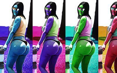 Kim Kardashian pompas pop art