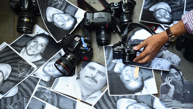 Protesta contra los asesinatos de periodistas en Veracruz