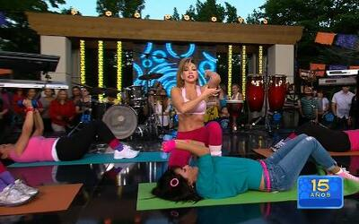 Claudia Molina mostró una rutina de ejercicios para 'cuarentonas'