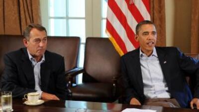 El presidente Barack Obama y los líderes del Congreso se encuentran reun...