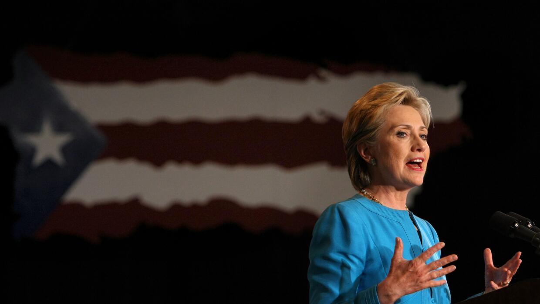 La senadora Clinton en San Juan durante las primarias demócratas en 2008