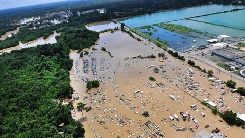 Inundaciones masivas producidas por las intensas lluvias en Luisiana el...