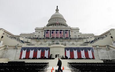 El Capitolio durante los preparativos para la toma de posesión de...