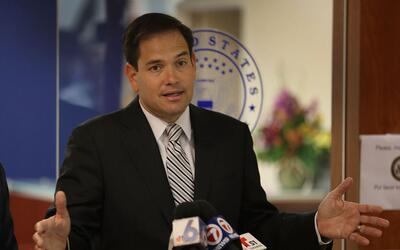 El senador Marco Rubio durante una rueda de prensa en Doral, Florida, el...