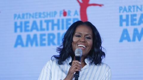Michelle Obama, durante su intervención en la cumbre anual de la...