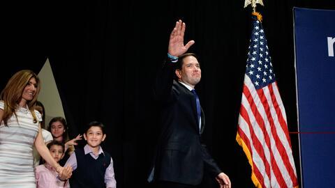 Marco Rubio en su discurso de retirada