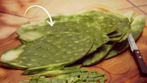 Nopales limpios y cortados para ensalada.