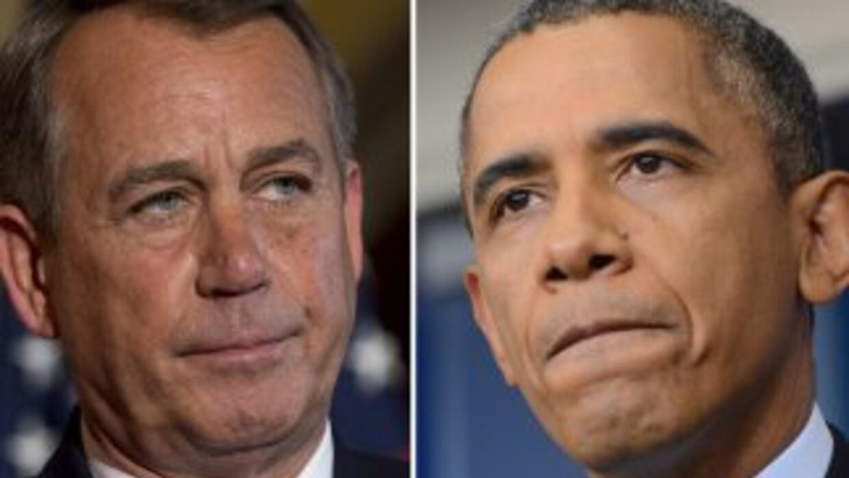 El presidente de la Cámara de Representantes, John Boehner (R-Ohio) y el...