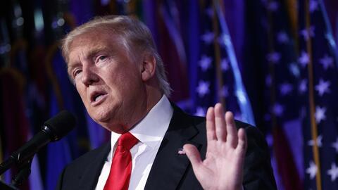 Donald Trump en Nueva York en la noche electoral.