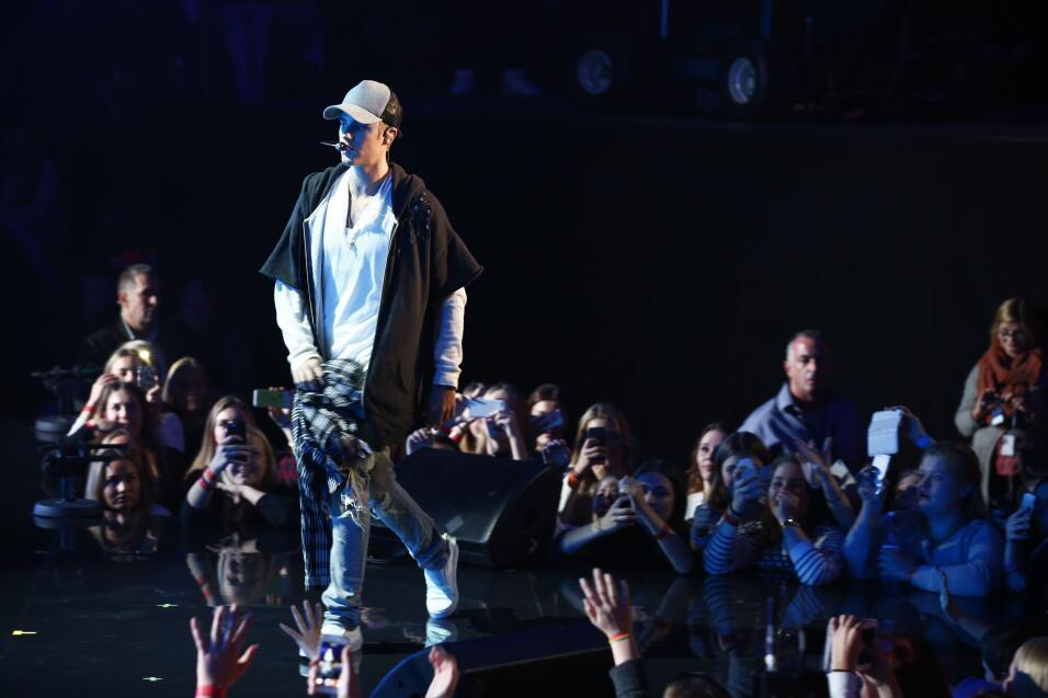 El cantante Justin Bieber en un momento de su actuación en Oslo, el 29 d...