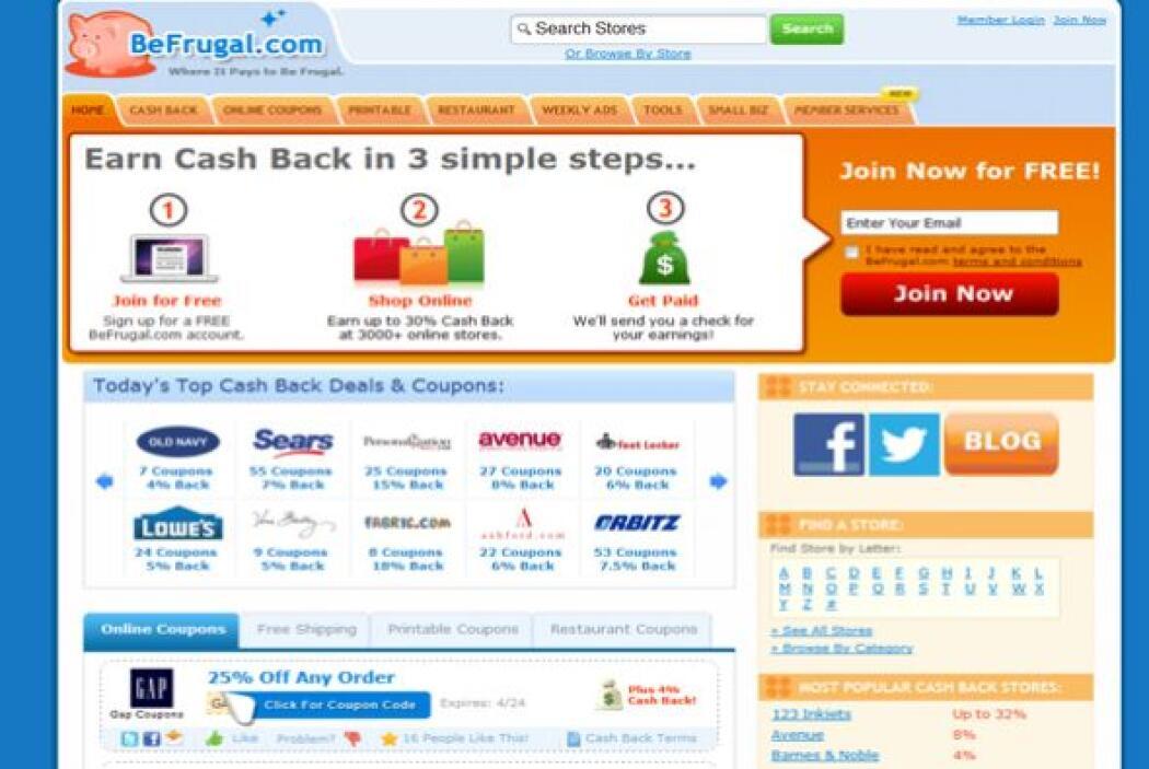 BeFrugal (befrugal.com)  En promedio proporciona un 7%  de devolución en...