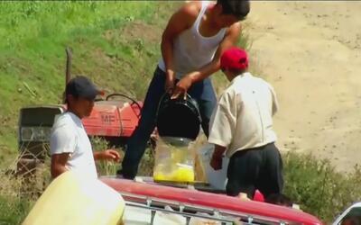 Con cubos y botellas, decenas de personas se llevan la gasolina aprovech...