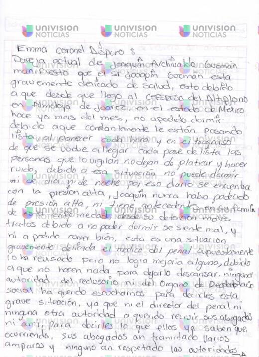 """La carta de la mujer de El Chapo en la que dice que corre """"peligro de vida"""""""