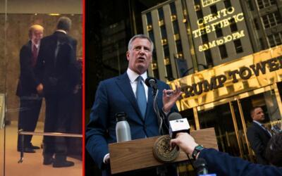 A la izquierda, la única imagen que hay del alcalde Bill de Blasio junto...