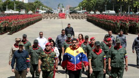 Venezuela's President Nicolas Maduro attends a military parade on Februa...