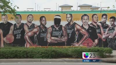 Borran cara de LeBron James de mural del Heat
