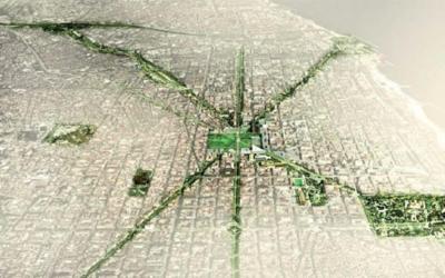 Una representación de la red de pasillos verdes planeados para Barcelona...