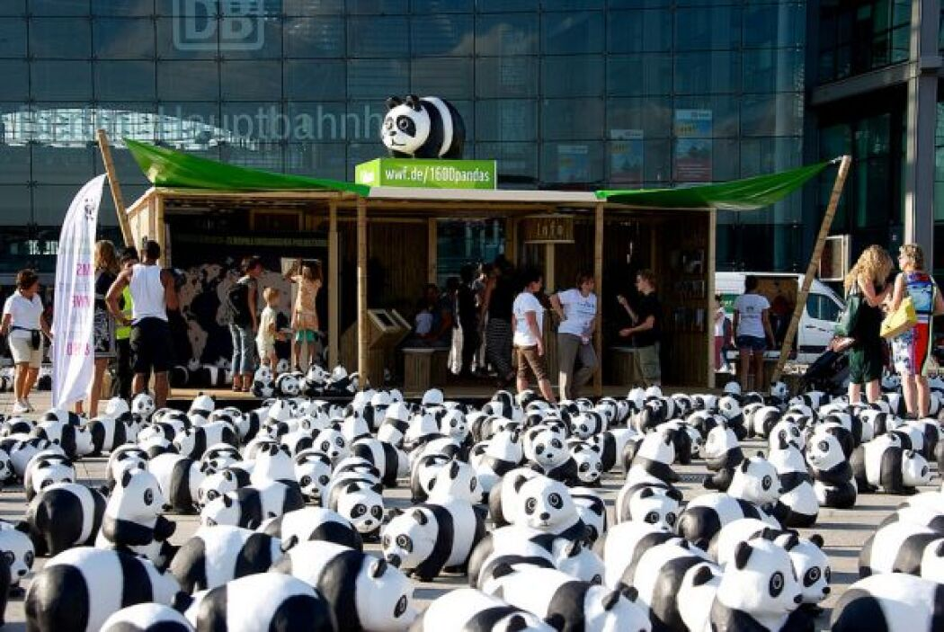 Además de los pandas, WWF despliega puestos de información para informar...