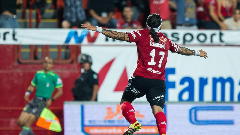Dayro Moreno festeja uno de sus goles.