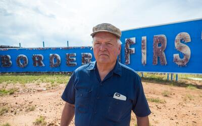 """""""Secure the border first,"""" is one of the messages Glenn Spencer displays..."""