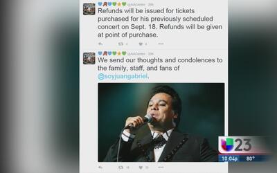 Obtenga el reembolso de sus boletos para el concierto de Juan Gabriel