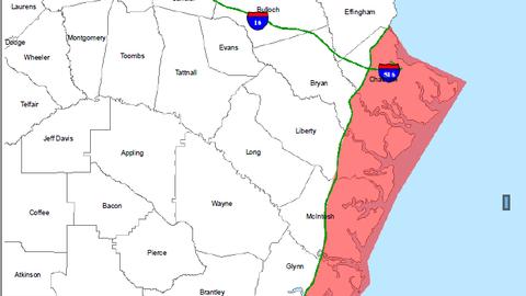 Mapa de evacuaciones en Georgia ante la llegada del huracán Matthew