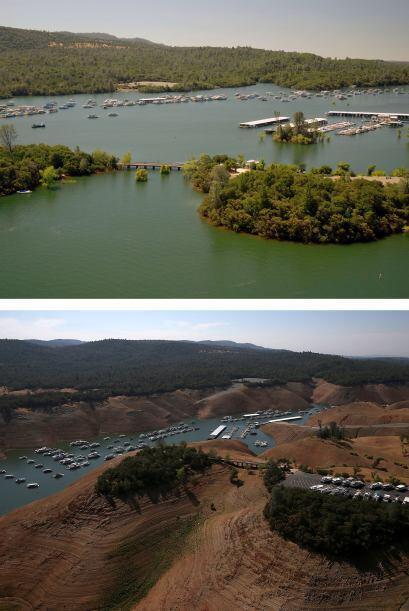 En esta imagen compuesta de antes y después, los niveles de agua son vis...