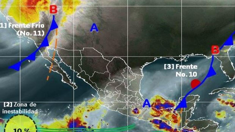 Imagen de satélite donde se observa el frente frío en el n...