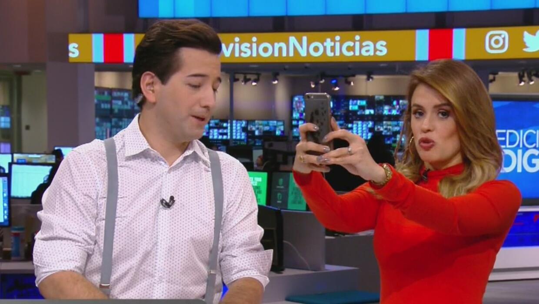Javier y Carolina intentaron una nueva modalidad de selfie, ¿lo lograron?