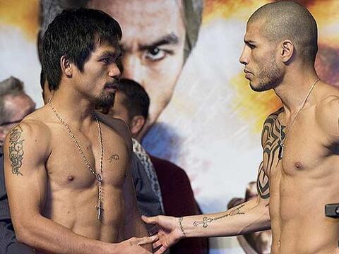 Manny Pacquiao y Miguel Cotto en su última escala previa a su com...