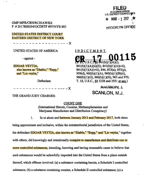 La Corte del Distrito Este de Nueva York registró el 2 de marzo la acusa...