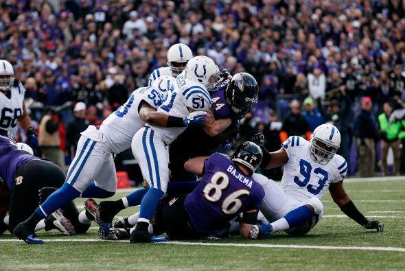 Los Ravens se fueron arriba en el marcador con acarreo de dos yardas de...