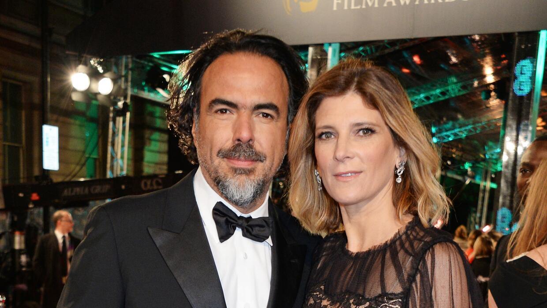 González Iñárritu con su esposa María Eladia Hagerman
