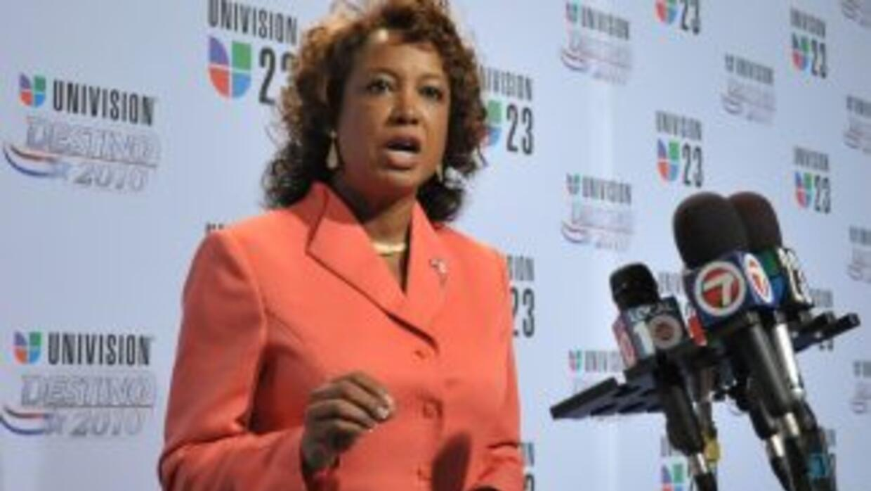Jennifer Carroll, candidata a la vice gobernación de Rick Scott, acudió...