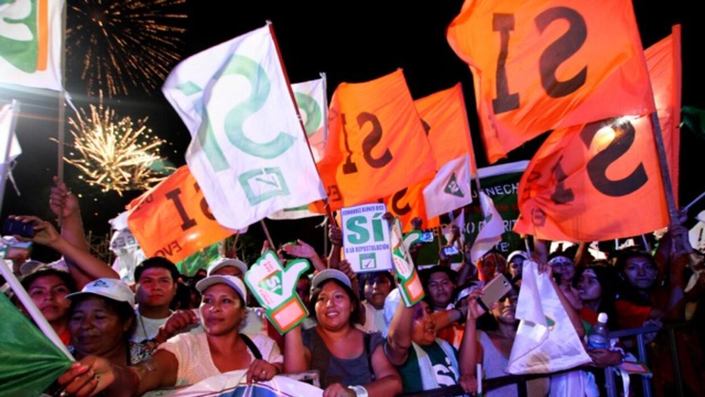 """Evo Morales cerró la campaña por el """"Sí"""" en Santa Cruz."""