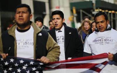 La caravana de dreamers protesta frente a la Torre Trump en Nueva York e...